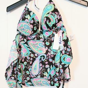 Malibu Swim Tankini Top Paisley Size Medium NEW